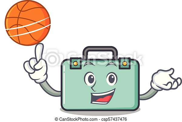 With basketball suitcase character cartoon style - csp57437476