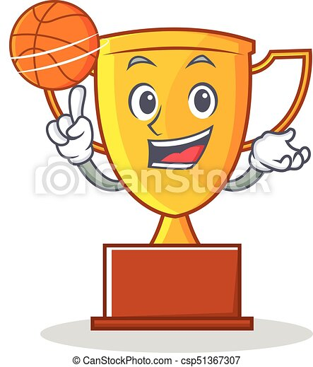 With Basketball Trophy Character Cartoon Style