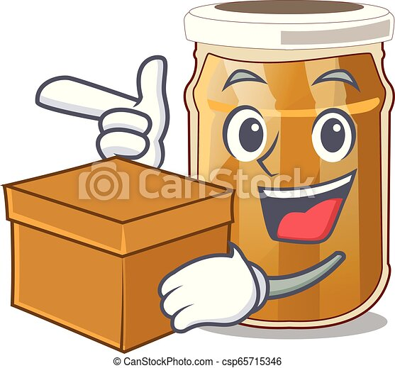 With box almond butter on a cartoon table - csp65715346