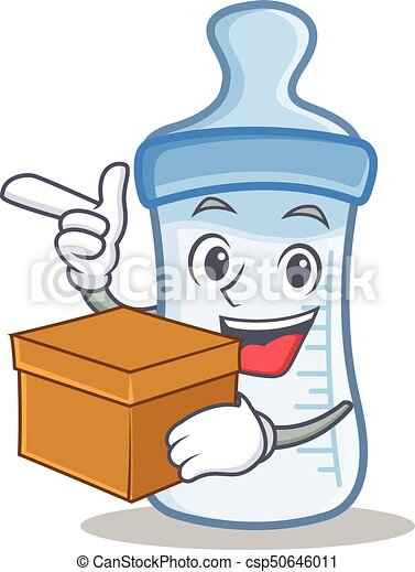 With box baby bottle character cartoon - csp50646011