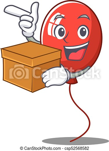 With box balloon character cartoon style - csp52568582