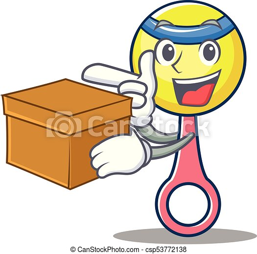 with box rattle toy character cartoon vector illustration vectors rh canstockphoto com toy box clipart