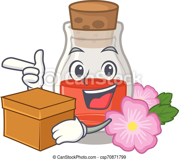 With box rosehip seed oil isolated in character - csp70871799
