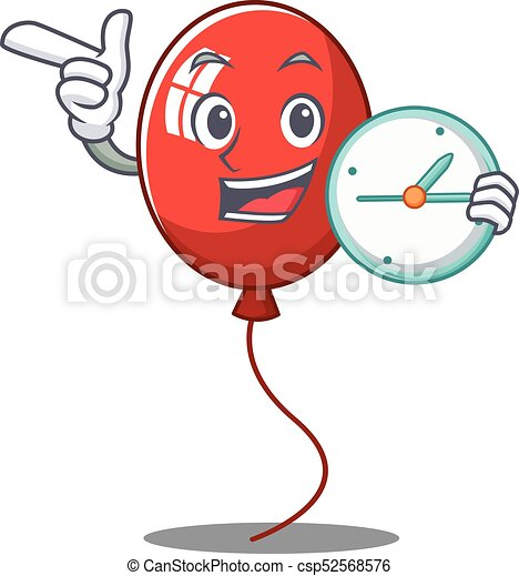 With clock balloon character cartoon style - csp52568576