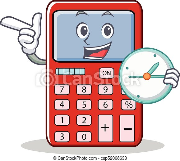 with clock cute calculator character cartoon vector illustration