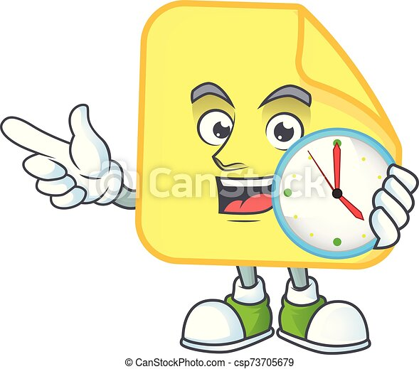 With clock yellow rounded sticker paper for business - csp73705679
