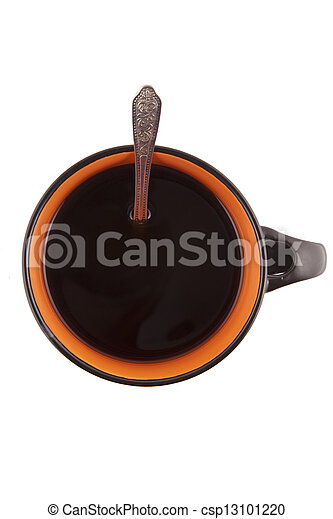 with Cup of coffee on white background - csp13101220