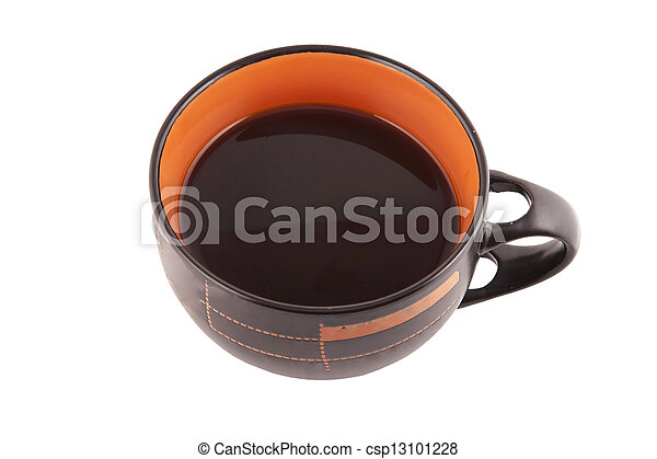 with Cup of coffee on white background - csp13101228