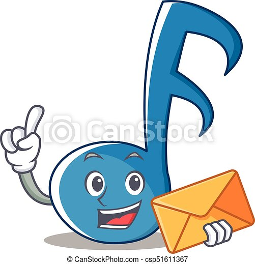 With Envelope Music Note Character Cartoon Vector Illustration