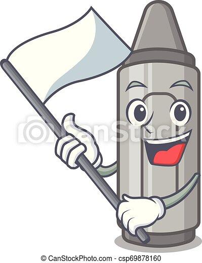 With flag grey crayon in a bag cartoon - csp69878160
