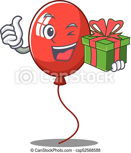 With gift balloon character cartoon style - csp52568588
