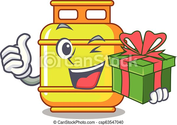 With Gift Creative In Gas Cartoon Tank Container Vector Illustration