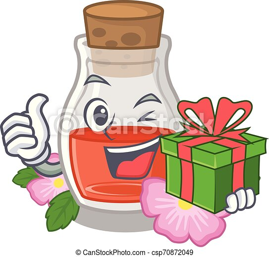 With gift rose seed oil the cartoon shape - csp70872049
