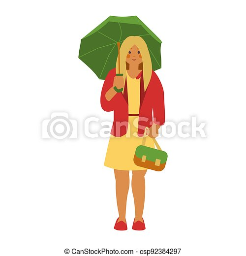 with green umbrella in red jacket - csp92384297