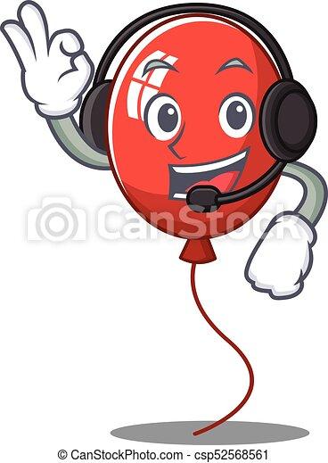 With headphone balloon character cartoon style - csp52568561