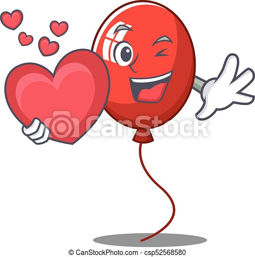 With heart balloon character cartoon style - csp52568580