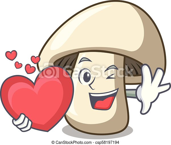 With Heart Champignon Mushroom Mascot Cartoon
