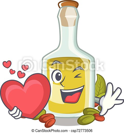 With heart Pistachio oil in a character bottle - csp72773506