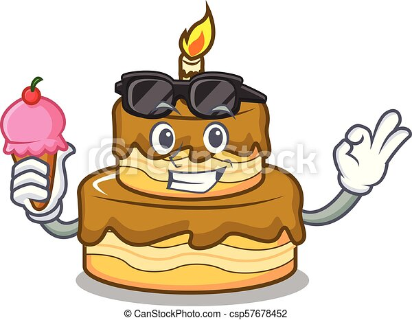 With Ice Cream Birthday Cake Character Cartoon