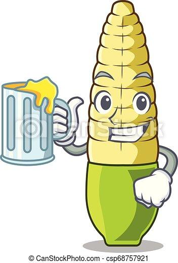 With juice baby corn cartoon in the fridge - csp68757921