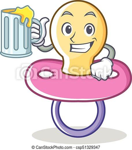 With juice baby pacifier character cartoon - csp51329347