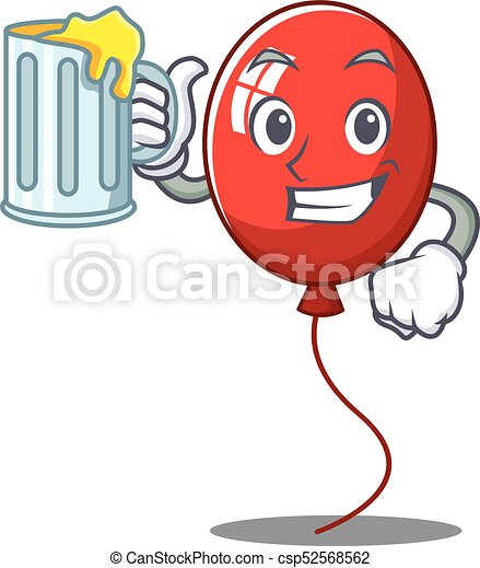 With juice balloon character cartoon style - csp52568562