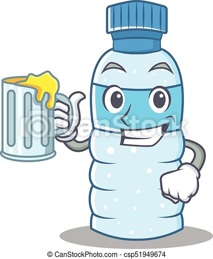 With juice bottle character cartoon style - csp51949674