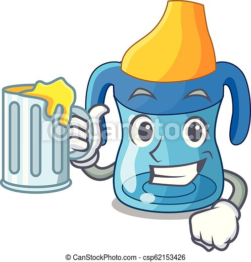 With juice cartoon baby drinking from training cup - csp62153426