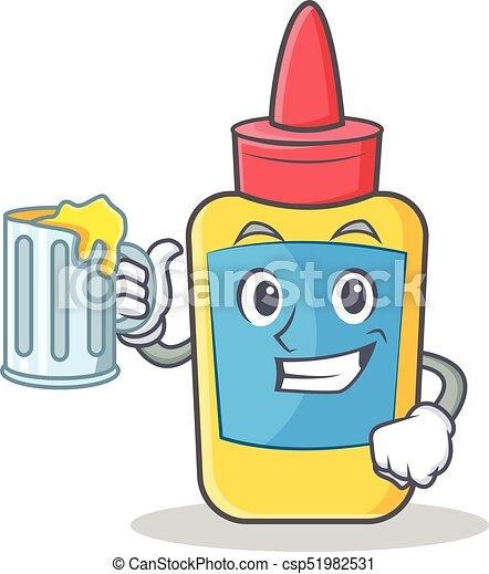 With juice glue bottle character cartoon - csp51982531