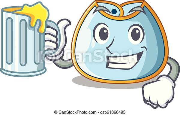 With juice homemade baby bib of cloth cartoon - csp61866495