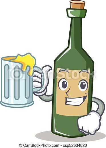 With juice wine bottle character cartoon - csp52634820
