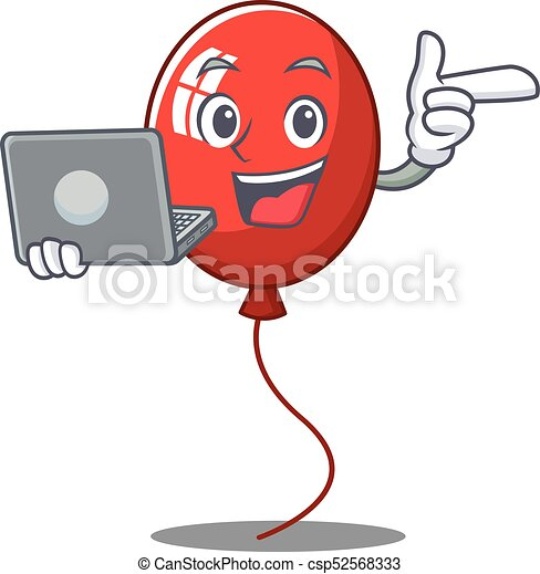 With laptop balloon character cartoon style - csp52568333