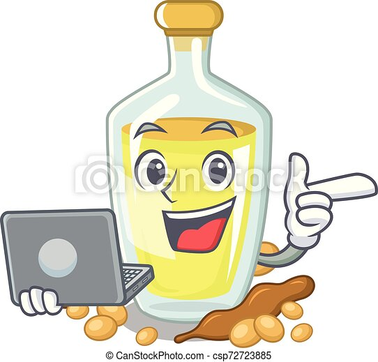 With laptop soybean oil put in cartoon bottle - csp72723885