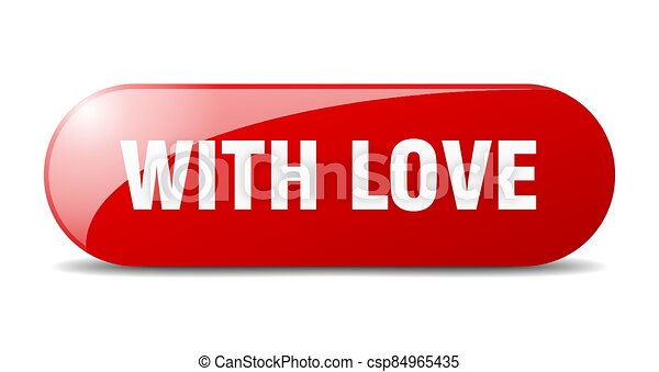 with love button. sticker. banner. rounded glass sign - csp84965435