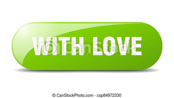 with love button. sticker. banner. rounded glass sign - csp84972330