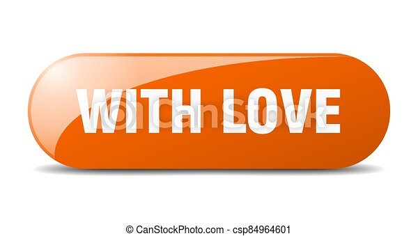with love button. sticker. banner. rounded glass sign - csp84964601