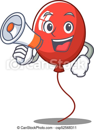 With megaphone balloon character cartoon style - csp52568311