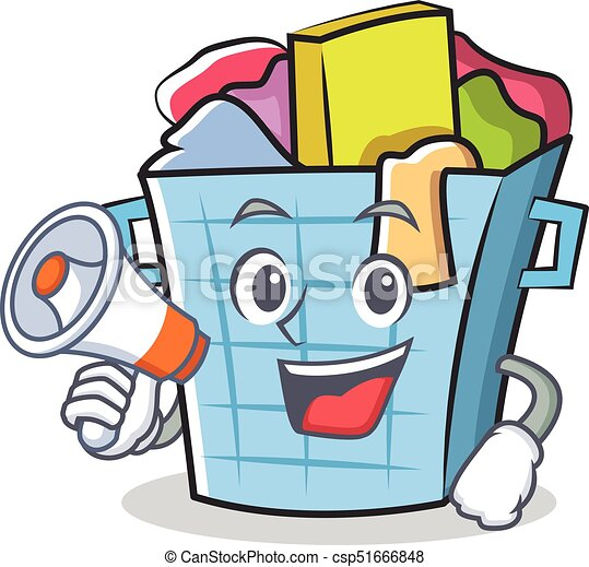 with megaphone laundry basket character cartoon vector eps vector rh canstockphoto com laundry basket clipart free laundry basket clipart free