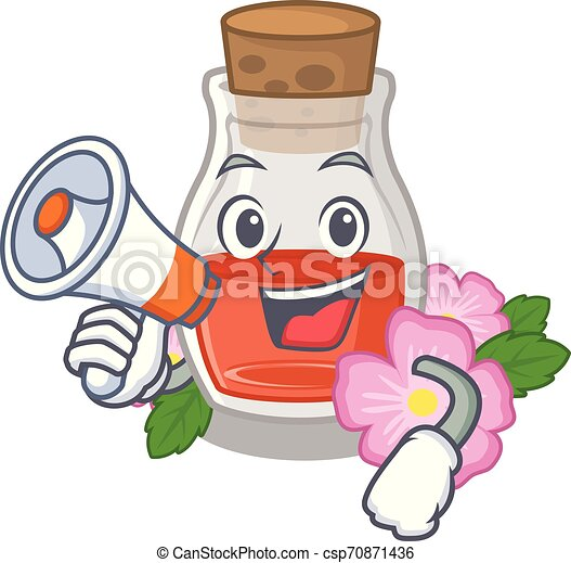 With megaphone rosehip seed oil in cartoon bottle - csp70871436