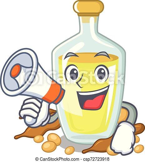With megaphone soybean oil put in cartoon bottle - csp72723918