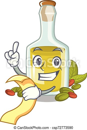 With menu Pistachio oil in a character bottle - csp72773590