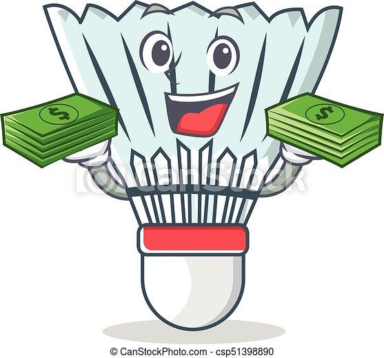 With money shuttlecock character cartoon vector - csp51398890
