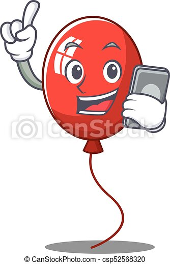 With phone balloon character cartoon style - csp52568320