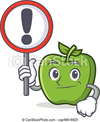 With sign green apple character cartoon - csp49616923