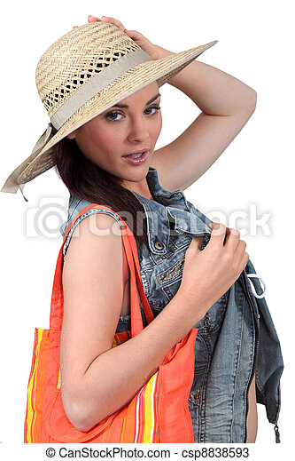with straw hat on white background - csp8838593