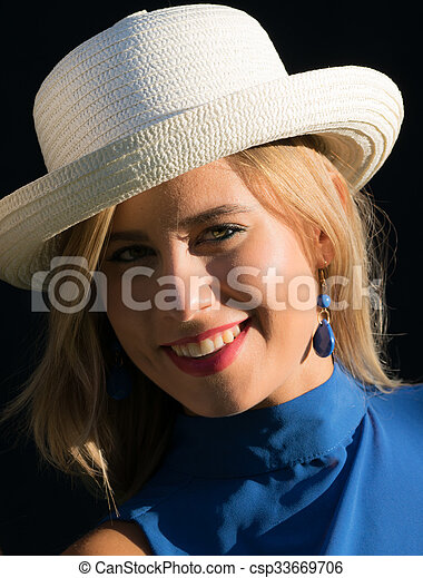 with straw hat - csp33669706