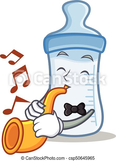 With trumpet baby bottle character cartoon - csp50645965