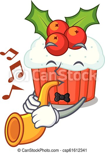 Christmas Trumpet Images.With Trumpet Decorated Christmas Cupcakes Cartoon For Party
