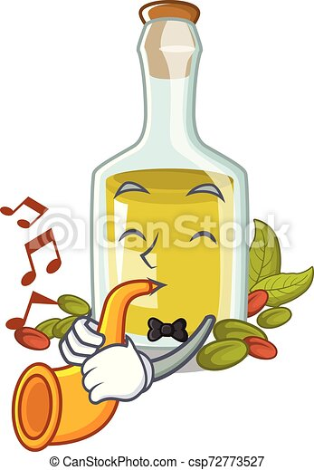With trumpet Pistachio oil in a character bottle - csp72773527