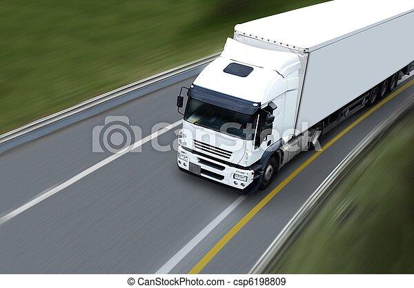 withe, camion, semi, highwa - csp6198809